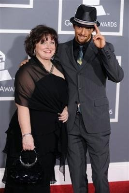 Jason Mraz and his Mom at the Grammys