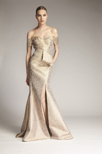 M319- Gold Brocade Tie Front Gown0808RETOUCHED